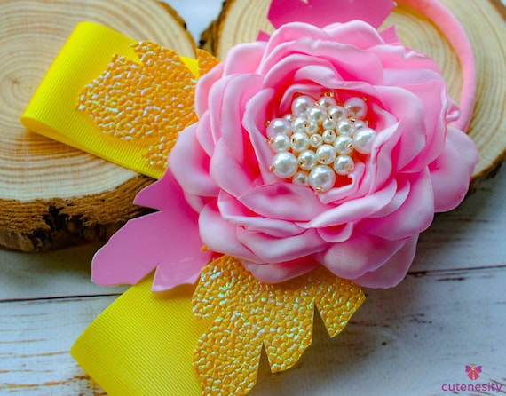 Yellow and Pink Flower with pearly centre and leaves bow - Baby / Toddler / Girl / Kid Headband / Hairband / Hair bow / Barrette / Clip
