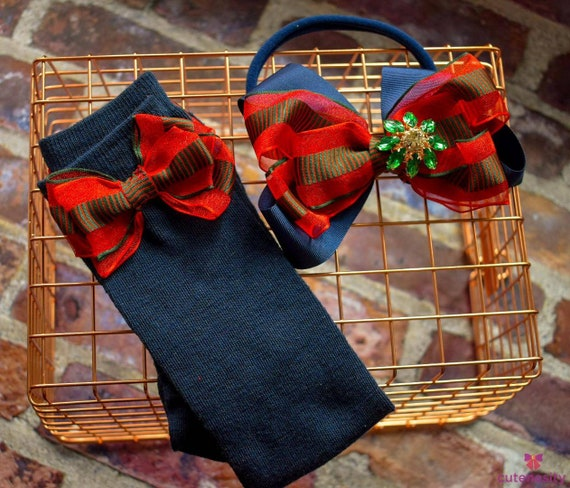 Red and Green with Navy layered Bow with matching socks - Baby / Toddler / Girls / Kids Headband / Hairband  / Barette / Hairclip