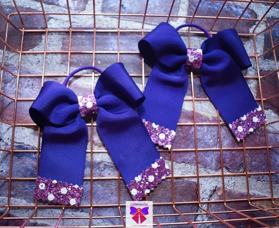 Pair of Purple Polka Dot Long Tail Hair Ties - Kids / Toddlers / Girl pony tail holders / scrunchies / Flowergirls bow / Hairbands / Autumn