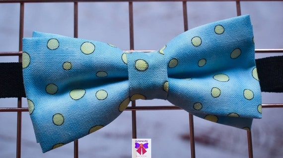Kids Blue and Green Polka Dot Bow Tie with Suspenders / Braces  for Baby, Toddlers and Boys - Wedding / Cake Smash / Birthday / Christening