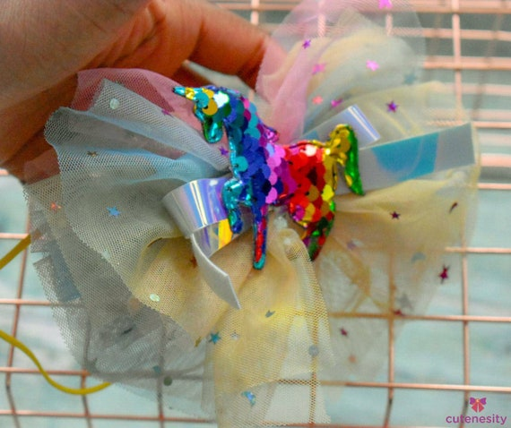 Unicorn rainbow tulle bow - Baby / Toddler / Girls / Kids Headband / Hairband  / Barrette / Hairclip / birthday / cakesmash / photoshoot