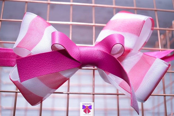 Fuchsia pink and white stripe grosgrain sheer leather Bow- Baby / Toddler / Girls / Kids Headband / Hairband / Hair bow / Barette / Hairclip