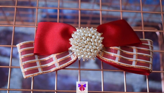 Red with ivory & bronze plaid layered bow with pearly rhinestone - Baby / Toddler / Girls / Kids Headband / Hairband  / Barette / Hairclip