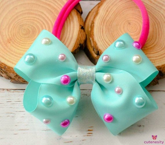 3d polka dot pearly aqua green bow  - Baby / Toddler / Girls / Kids Headband / Hairband  / Barrette / Hairclip  party, birthday, photoshoot