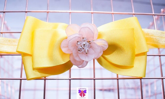 Pastel Yellow Grosgrain Ribbon Bow with Rhinestone - Baby / Toddler / Girls / Kids Headband / Hairband / Hair bow / Barette / Hairclip