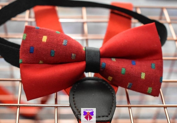 Kids Red Woven Bow Tie with Suspender / Braces  for Baby, Toddler and Boys - Wedding / Cake Smash / Birthday / Christening