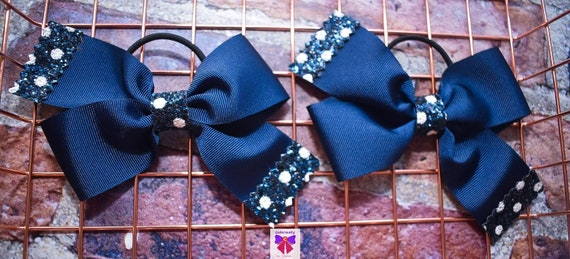 Pair of Navy Blue Polka Dot Bow Hair Ties - Kids / Toddlers / Girl pony tail holders / scrunchies / Flowergirls bow / Hairbands / Autumn