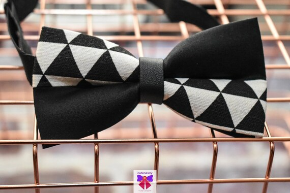 Kids Black and White Chevron Bow Tie with Suspenders / Braces  for Baby, Toddler and Boys - Wedding / Cake Smash / Birthday / Christening
