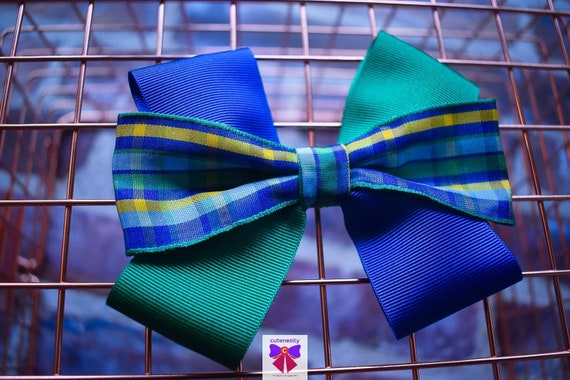 Blue, Green and Yellow Plaid / Tartan / Gingham Ribbon Bow  - Baby / Toddler / Girls / Kids Headband / Hairband / Barette / Hairclip
