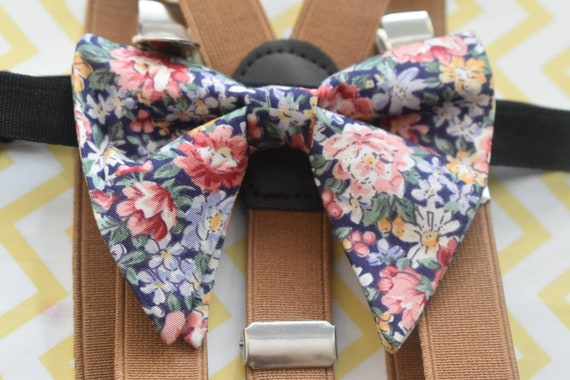 Blue Floral Floppy Bow Tie with Suspenders / Braces  for Baby, Toddlers and Boys - Wedding / Church/ Cake Smash / Birthday / Christening