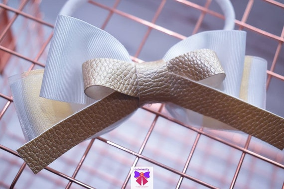 Gold and white stripe grosgrain  sheer leather Bow- Baby / Toddler / Girls / Kids Headband / Hairband / Hair bow / Barette / Hairclip