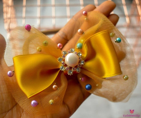 Gold with multicoloured beads tulle Layered Bow - Baby / Toddler / Girls / Kids Headband / Hairband  / Barette / Hairclip