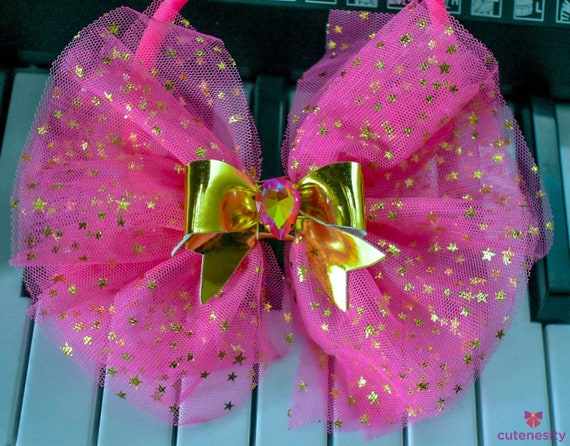 Pink and gold  tulle bow - Baby / Toddler / Girls / Kids Headband / Hairband  / Barrette / Hairclip / birthday / cakesmash / photoshoot