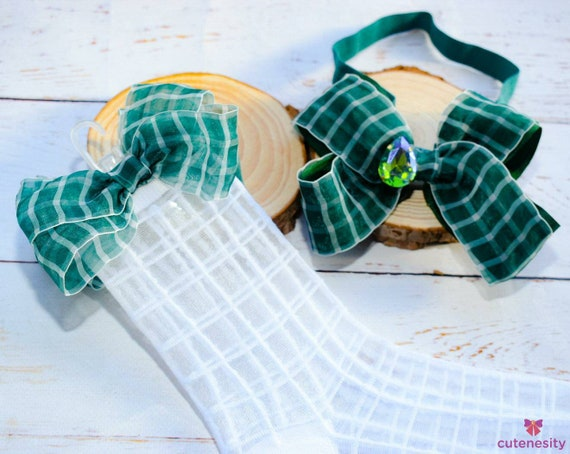 Sheer green & white grid bow with self grid sheer matching socks - Baby / Toddler / Girls / Kids Headband / Hairband  / Barette / Hairclip