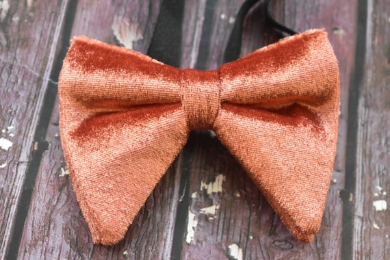 Burnt orange velvet floppy / butterfly bow tie  for Baby, Toddlers and Boys (Kids Bow Ties) with Braces/ Suspender