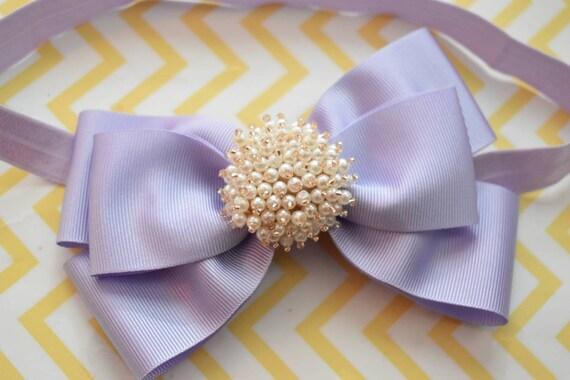 Lilac Grosgrain Ribbon Bow with pearly rhinestone - Baby / Toddler / Girls / Kids Headband / Hairband / Hair bow / Barette / Hairclip