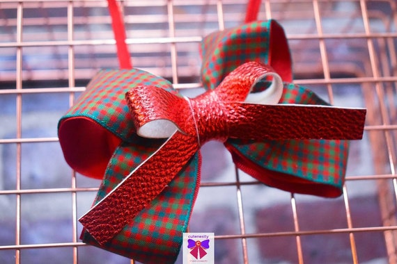 Red and Green Plaid Bow with Red leather bow - Baby / Toddler / Girls / Kids Headband / Hairband / Hair bow / Barette / Hairclip / Wedding