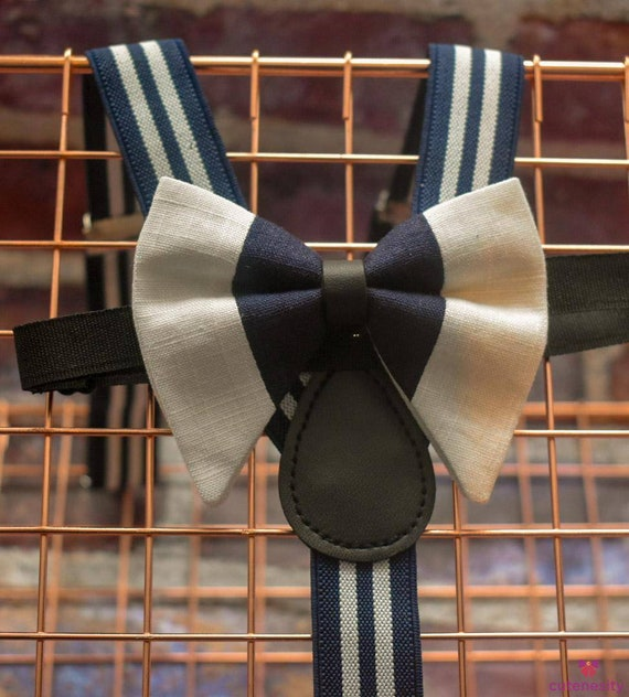 Navy and White Linen Butterfly / Floppy Bow Tie  for Baby, Toddlers and Boys (Kids Bow Ties) with Braces / Suspenders for Party, Wedding