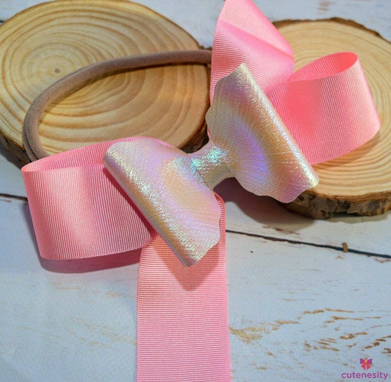 Pretty pink grosgrain iridescent bow  - Baby / Toddler / Girl / Kids Headband / Hairband  / Barette / Hairclip / cake smash  / birthday