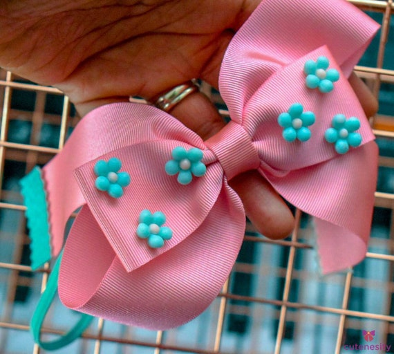 Pretty pink and aqua grosgrain bow  - Baby / Toddler / Girl / Kids Headband / Hairband  / Barette / Hairclip / cake smash / party / birthday