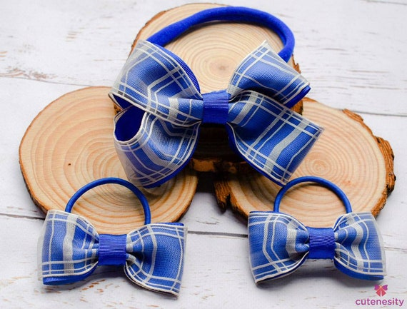 Royal blue and off white headband with matching hair ties - Baby /Toddler / Kids Elastic / Hairband/ Bow/ Hairbow / Girls - school bows