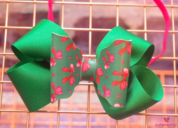 Green and pink layered bow - Baby / Toddler / Girls / Kids Headband / Hairband  / Barrette / Rosette / Hairclip for party, christmas , photo