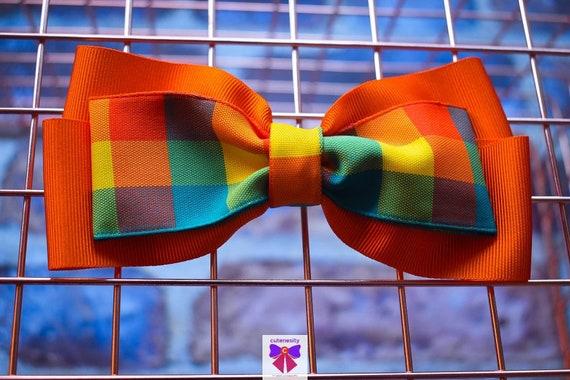 Orange and Green Plaid / Tartan / Gingham Ribbon Bow - Baby / Toddler / Girls / Kids Headband / Hairband / Hair bow / Barette / Hairclip