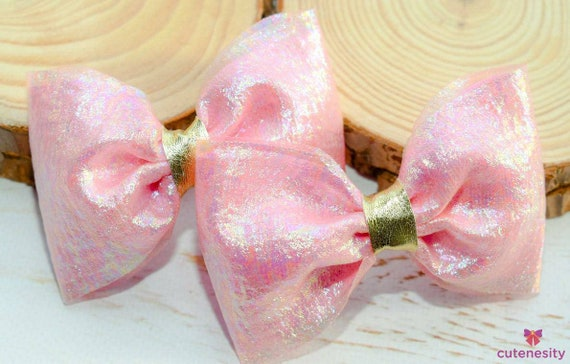Shimmery pastel pink barrettes- Toddler / Kids Elastic / Hairband/ Bow/ Hairbow for everyday wear, wedding, party, birthday