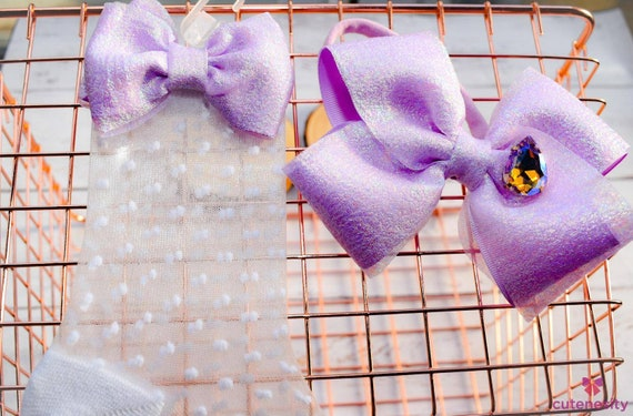 Shimmery lilac oversized bow with polka dot sheer matching socks - Baby / Toddler / Girls / Kids Headband / Hairband  / Barette / Hairclip