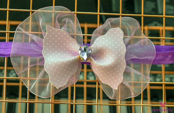 Polka dot lilac sheer Ruffles Bow - Baby / Toddler / Girls / Kids Headband / Hairband  / Barette / Hairclip for Birthday, Wedding, Party