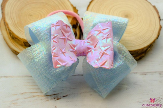 Pale blue and pink layered Bow  - Baby / Toddler / Girls / Kids Headband / Hairband  / Barette / Hairclip for party, birthday, photoshoot