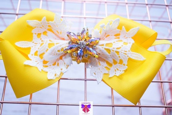 Yellow and White Layered Bow with Rhinestone - Baby / Toddler / Girls / Kids Headband / Hairband / Hair bow / Barette / Hairclip