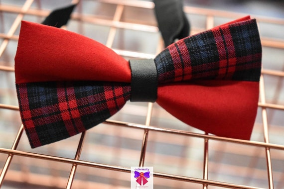 Kids Red and Navy Tartan / Plaid Bow Tie with Suspender / Braces  for Baby, Toddler and Boys - Wedding / Cake Smash / Birthday / Christening