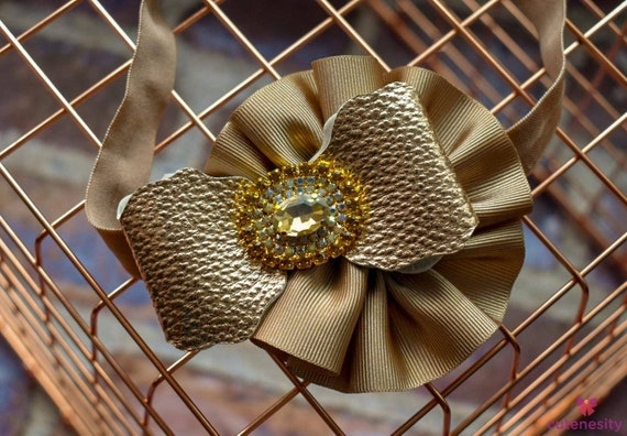 Ecru and Vintage Gold Bowsette with sparkly rhinestone - Baby / Toddler / Girls / Kids Headband / Hairband  / Barrette / Rosette / Hairclip