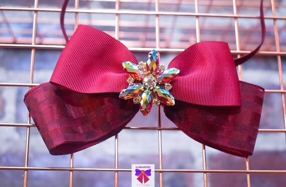 Burgundy Red Bow with Rhinestone - Baby / Toddler / Girls / Kids Headband / Hairband / Hair bow / Barette / Hairclip / Wedding