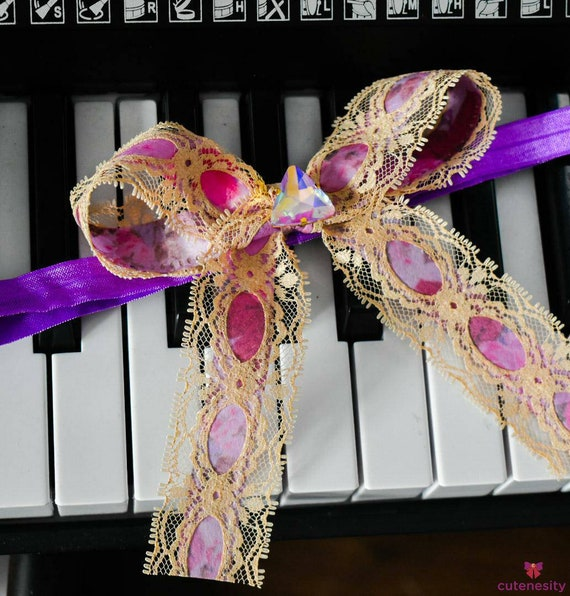 Floral purple and Ecru Lace Long Tail Bow with  Baby / Toddler / Girl / Kid Headband / Hairband / Hair bow / Barrette / Hairclip /Wedding