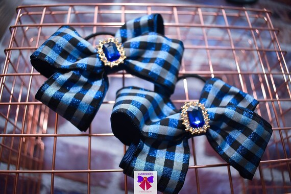 Pair of Shimmery Navy and Light Blue Tartan Hair Ties - Kids / Toddlers / Girl pony tail holders / scrunchies / Flowergirls bow / Hairbands