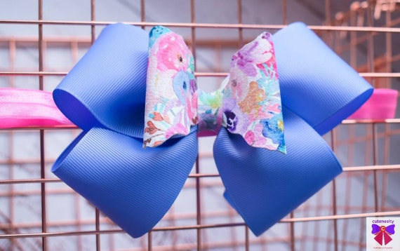 Iris blue floral bow  - Baby / Toddler / Girls / Kids Headband / Hairband  / Barette / Hairclip / cake smash / birthday party / wedding