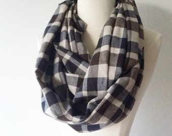 Blue, Black, & Gold Plaid Flannel Infinity Scarf - Handmade - Preppy, Classic, Soft, Warm - Gift for Her, Birthday, Fall Fashion, Chic