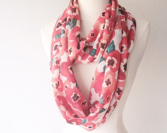 Pink Poppy Floral Print Lightweight Chiffon Infinity Scarf - Handmade - For Her, Spring Fashion, Mother's Day, Summer