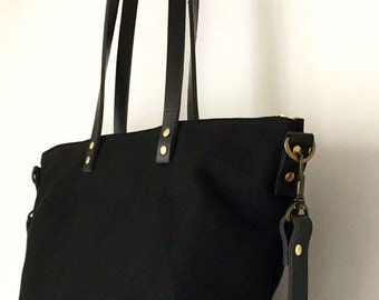 """CARRIER CROSSBODY TOTE   Waxed Canvas and Leather   Diaper Bag   13"""" Laptop Bag   Messenger   Zipper Top   4 Pockets   Black"""