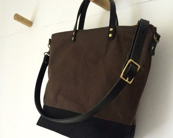 COMMUTER BAG   Mid-Size Waxed Canvas Leather Tote   Crossbody Shoulder Strap   Messenger   Zipper Top   4 Pockets   Brown