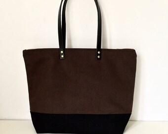"MEDIUM ZIPPER TOTE   Waxed Canvas Leather   Diaper Bag   13"" MacBook Air   4 Pockets   Water Resistant   Dark Brown and Black Bottom"