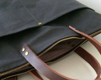 CUSTOM 2 FRONT POCKETS Option | Best For Your Diaper Bag, Laptop Bag, Travel Bag | Water Resistant Waxed Canvas | Handmade