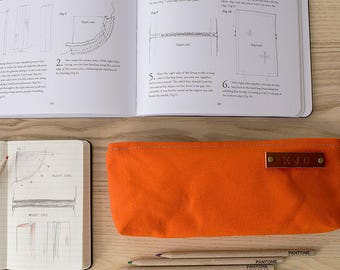 STOCK POUCH   Lightly Waxed Canvas Zipper Case   Optional Personalization   Orange