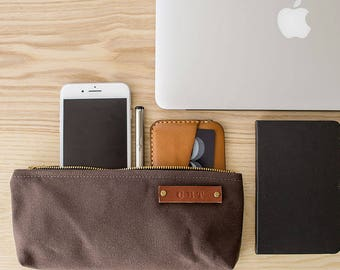 STOCK POUCH   Lightly Waxed Canvas Zipper Case   Optional Personalization   Brown
