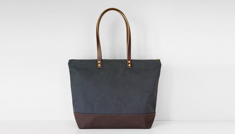 MEDIUM ZIPPER TOTE  Waxed Canvas Leather  Modern Diaper Bag image 0