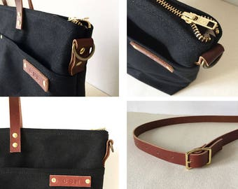 CUSTOM INITIALS OPTION   Personalization For Your Waxed Canvas and Leather Bag or Pouch   Up to 3 Letters