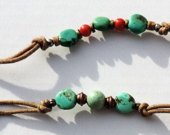 Turquoise bracelets. Unique and handmade piece in France. Port offered.