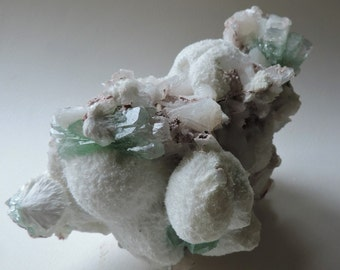 Green apophyllite with Stilbite and Maharashtra Mordenite ball in India. 165 x 140 x 115 mm. Port offered. #ASM37